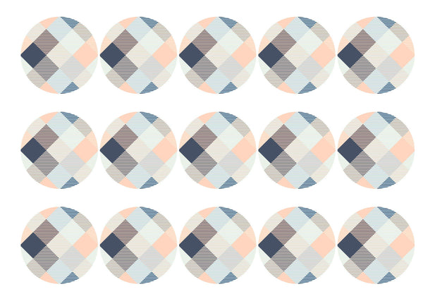 15 printed toppers with a blue and peach check design