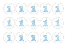 Printed cupcake toppers with blue candle age 1
