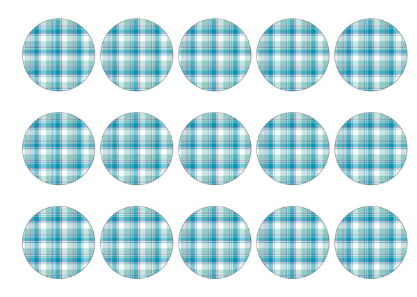 15 printed cupcake toppers with a turquoise tartan design