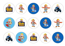 Printed edible cupcake toppers with images of Bob the Builder
