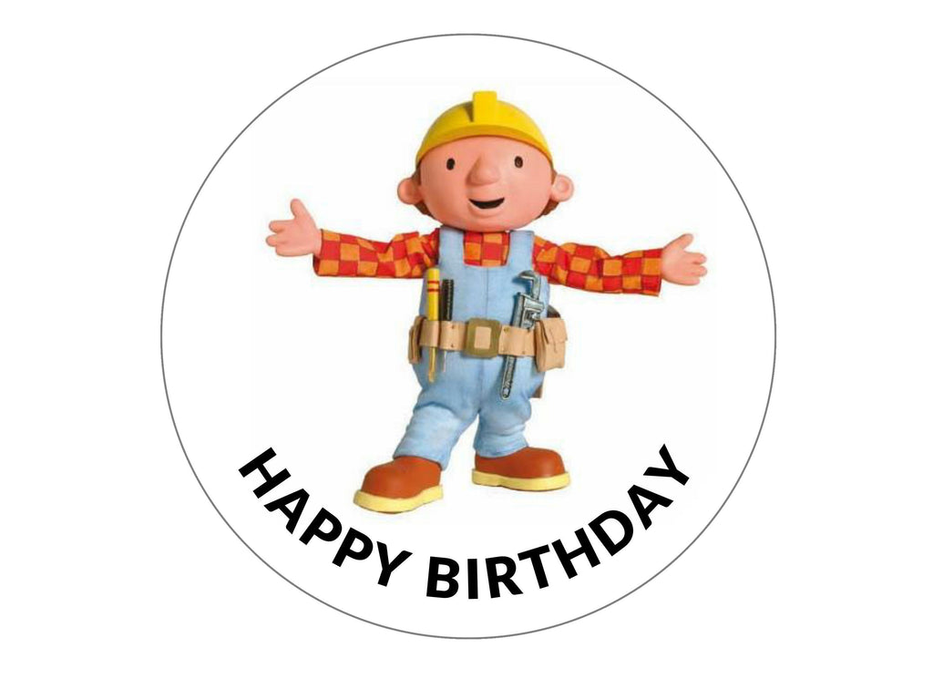 Printed edible birthday cake topper with Bob the Builder