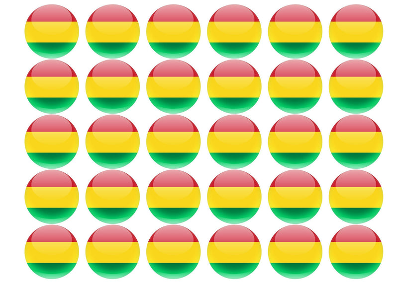 38mm printed edible cupcake toppers - Bolivia
