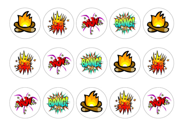 Printed cupcake toppers with Bonfire night and fireworks images