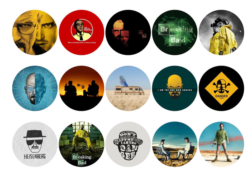 Printed edible cupcake toppers with images from Breaking Bad