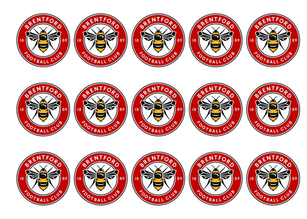 Printed cake toppers with the new Brentford Football Crest