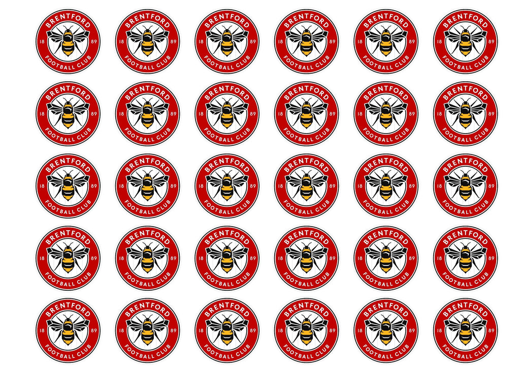 Edible cake toppers with the new Brentford Football Crest