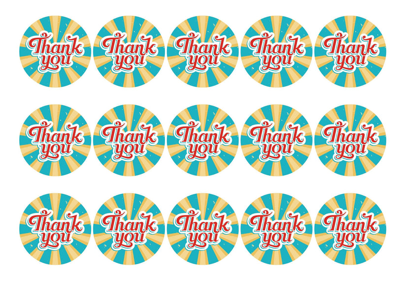 Printed edible cupcake toppers - bright thank you