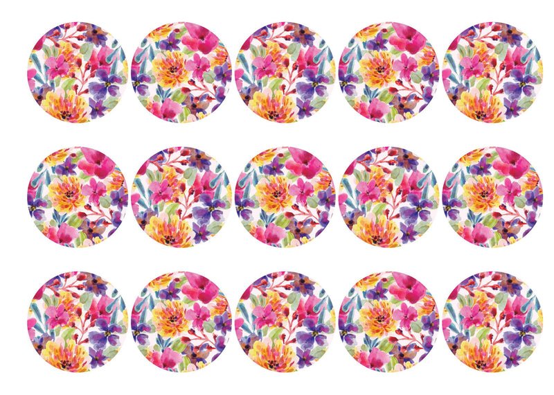 15 printed toppers in a bright floral design