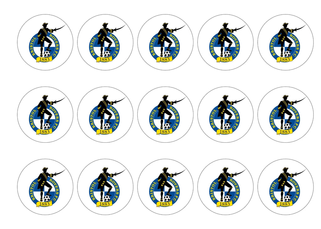 15 printed cupcake toppers with the Bristol Rovers badge
