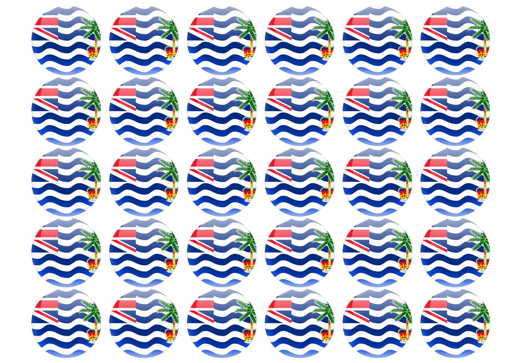 38mm printed edible cupcake toppers - British Indian Ocean Territory