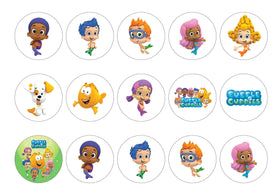 Printed edible cupcake toppers with Bubble Guppies