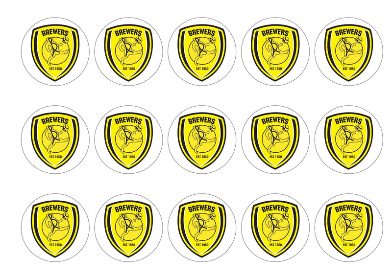 Printed cake toppers with the Burton Albion Football Crest