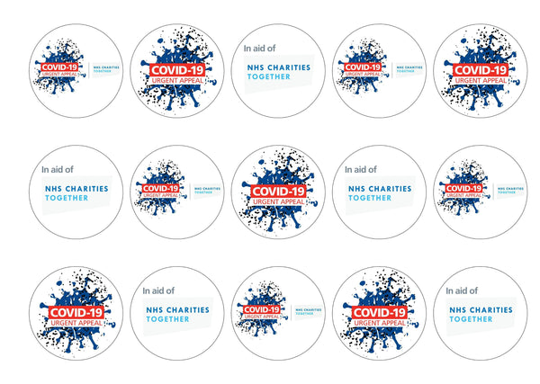 15 printed cupcake toppers in aid of the NHS Charities Together COVID-19 Urgent Appeal