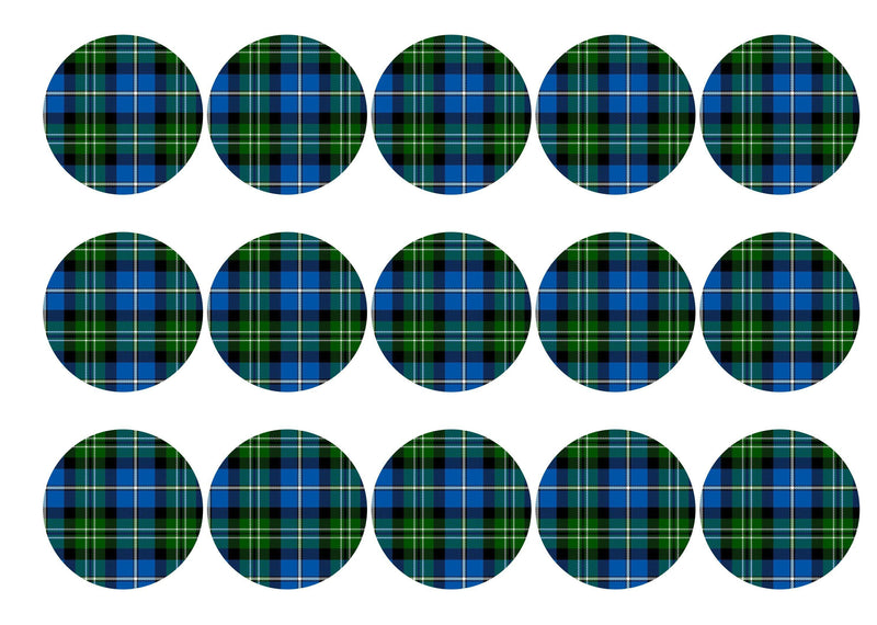 15 printed cupcake toppers with Campbell tartan
