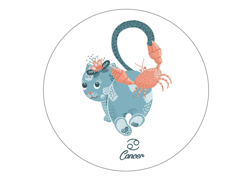 Edible cake topper printed with cute cats symbolising Cancer the Crab Star Sign