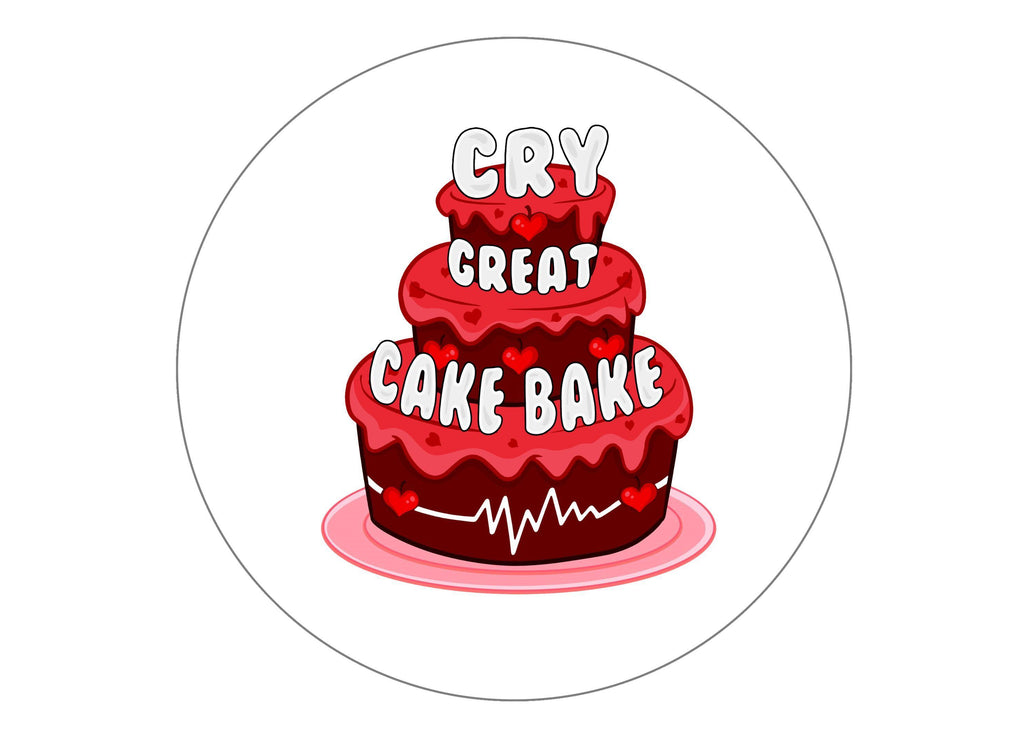 Printed edible cake toppers and cupcake toppers with the Great Cake Bake logo for CRY (Cardiac Risk in the Young)