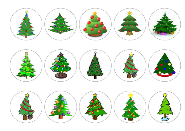 15 printed cupcake toppers with cartoon Christmas Trees