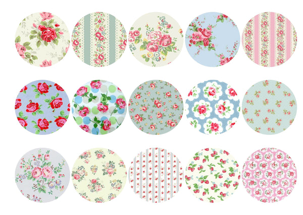 Printed cupcake toppers with Cath Kidston style designs