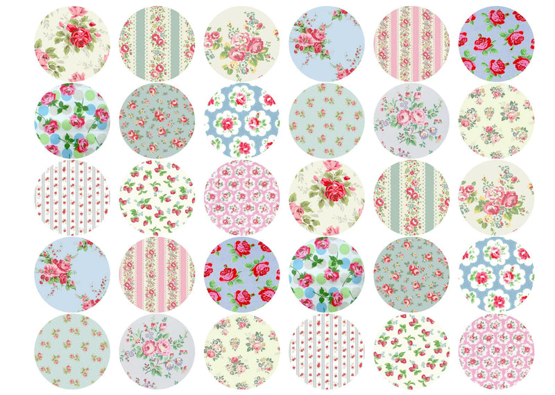 Edible cupcake toppers with Cath Kidston style designs