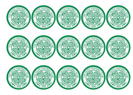 15 printed cupcake toppers with the Celtic logo