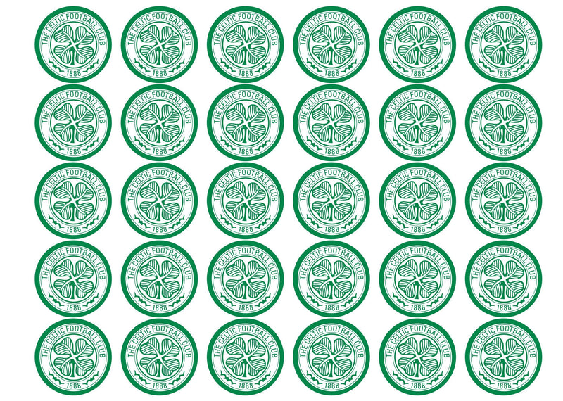 30 edible printed cupcake toppers with the Celtic logo