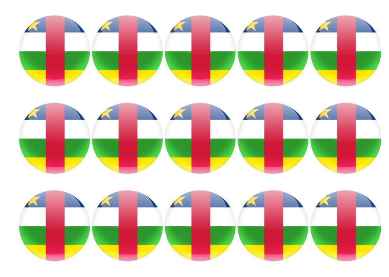 50mm printed edible cupcake toppers - Central African Republic