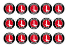 15 printed cupcake toppers with the Charlton Athletic badge