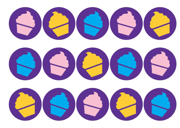 15 printed cupcake toppers supporting Children in Need