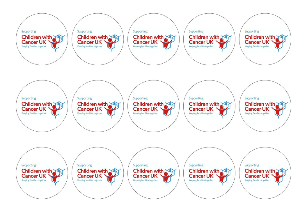 15 printed cupcake toppers for supporting Children with Cancer UK