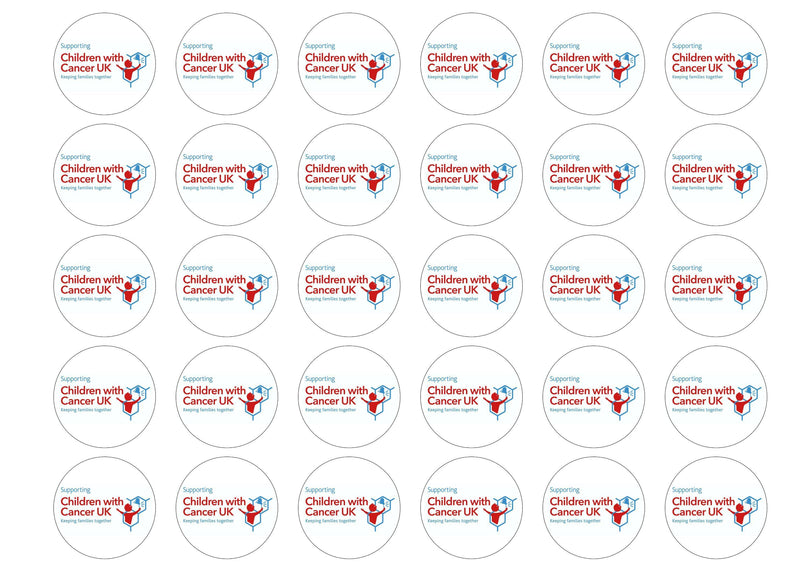 30 edible cupcake toppers for supporting Children with Cancer UK