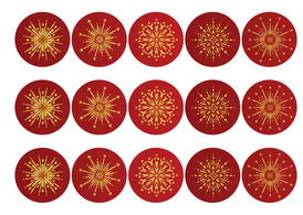 15 printed toppers with red and gold fireworks for the Chinese New Year