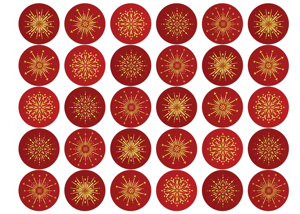 30 edible toppers with red and gold fireworks for the Chinese New Year