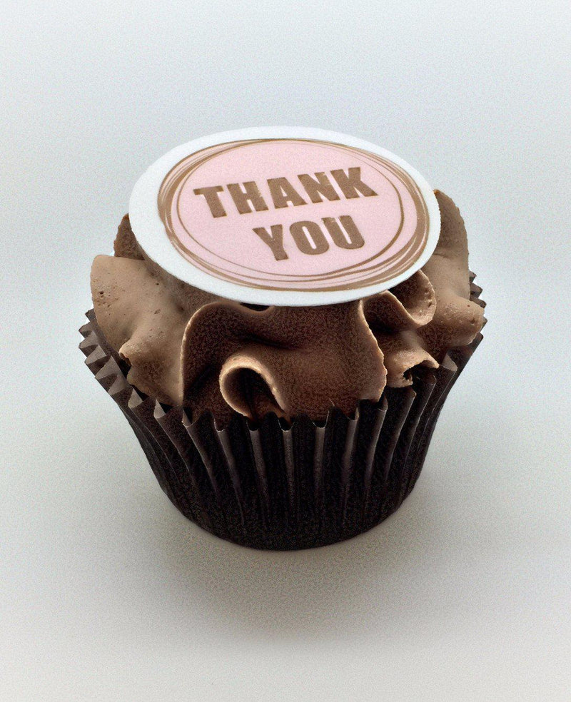Edible printed cupcake toppers - thank you