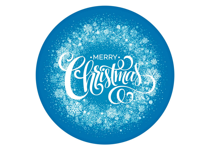 Large round cake topper with Merry Christmas message on a blue snowflake background
