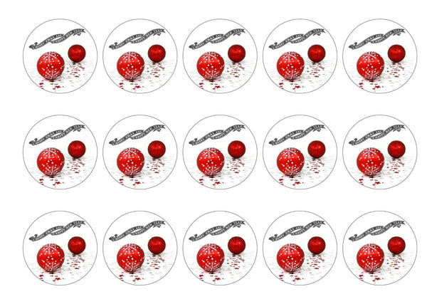 15 printed cupcake toppers with a Christmas Baubles image