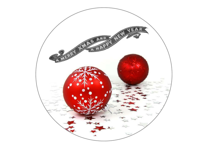 Large cake topper with a Christmas Baubles image
