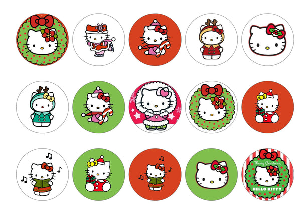 Edible Christmas cake toppers and cupcake toppers printed onto rice paper or icing with images of Hello Kitty