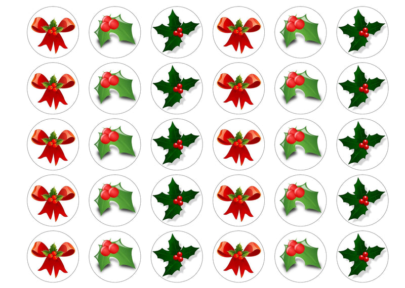 Printed edible cupcake toppers with images of holly