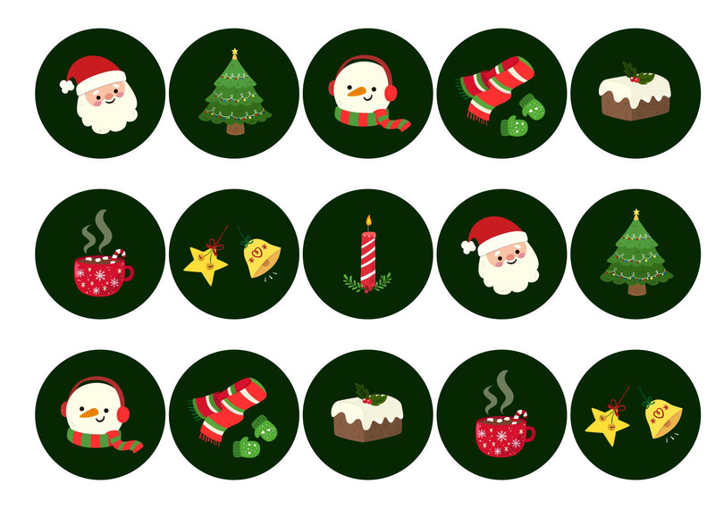 15 Christmas toppers with a range of Christmas icons