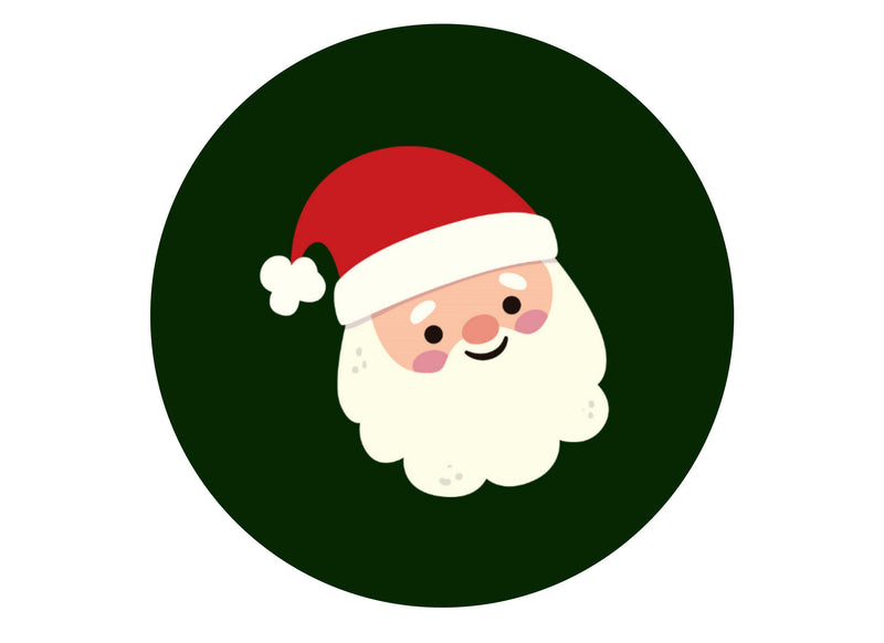 Large cake topper with dark green background and santa icon