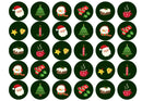 30 edible Christmas toppers with a range of Christmas images