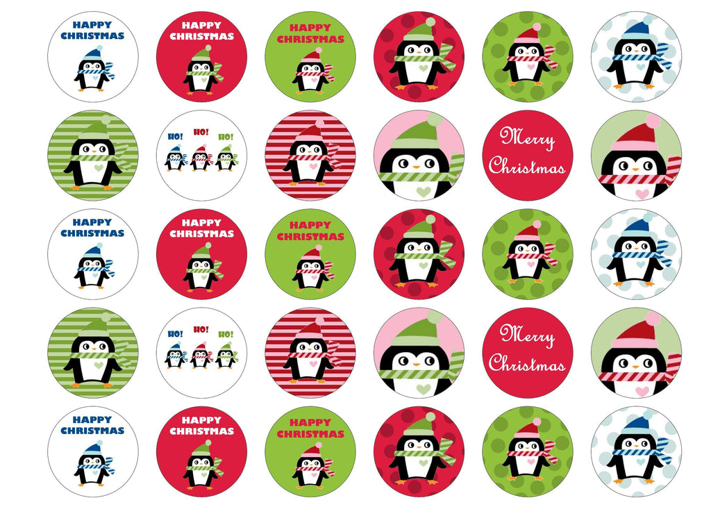 Printed Christmas cake toppers and cupcake toppers printed onto rice paper or icing