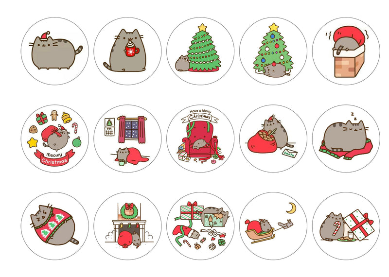 Printed Christmas Pusheen cupcake toppers