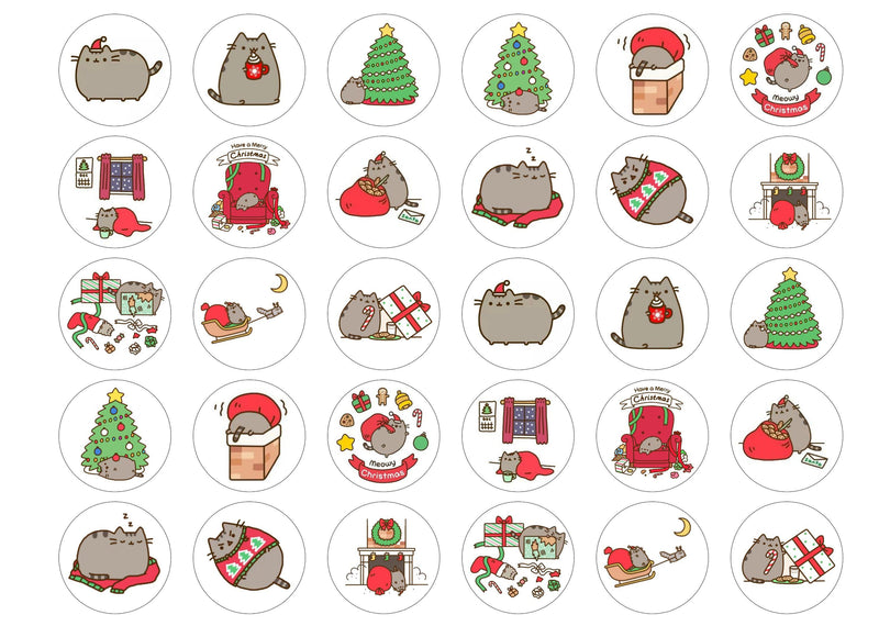 Edible Christmas Pusheen cupcake toppers