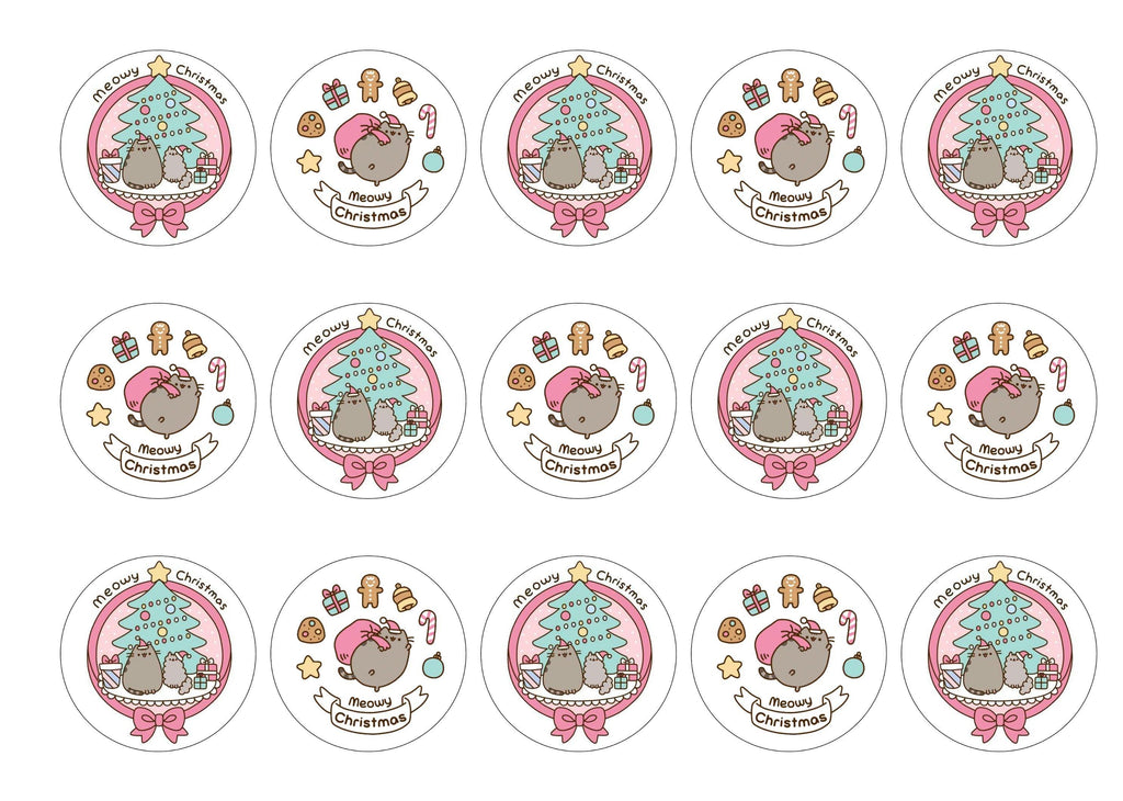 Printed Christmas cupcake toppers with images of Pusheen