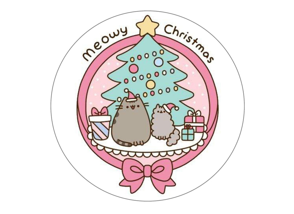 Printed Christmas large cake topper with a Pusheen image