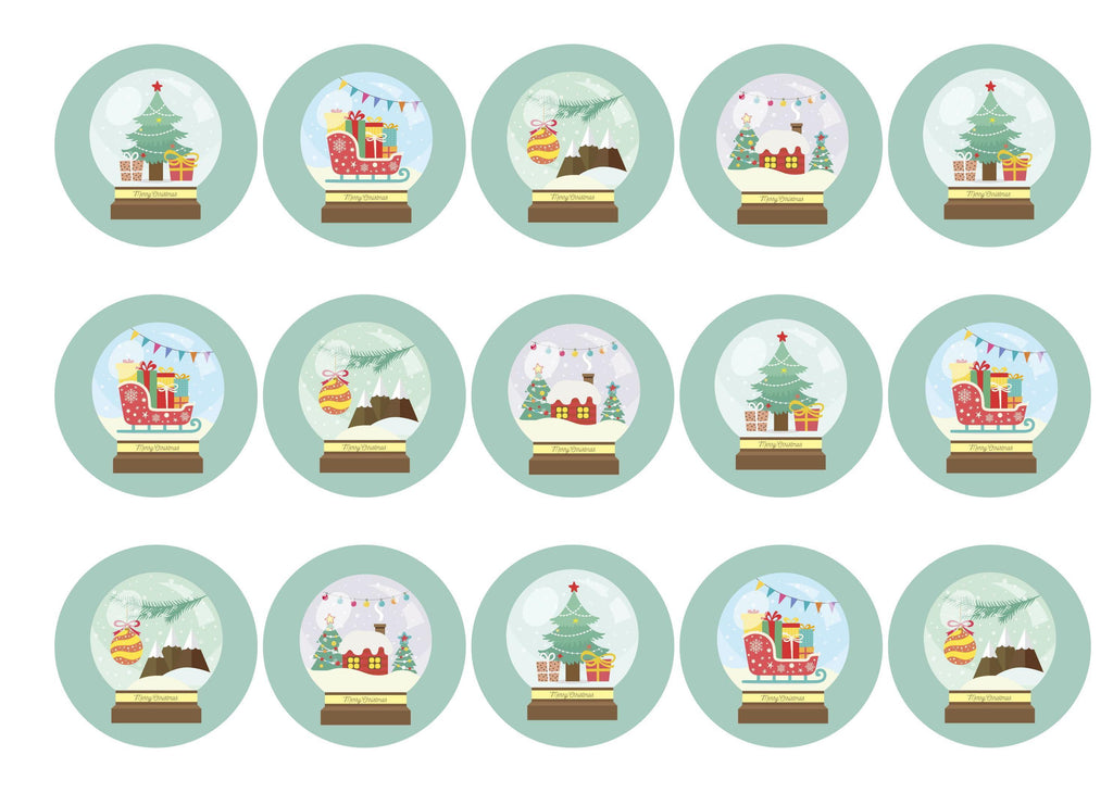 15 printed cupcake toppers with Christmas Snow Globe images