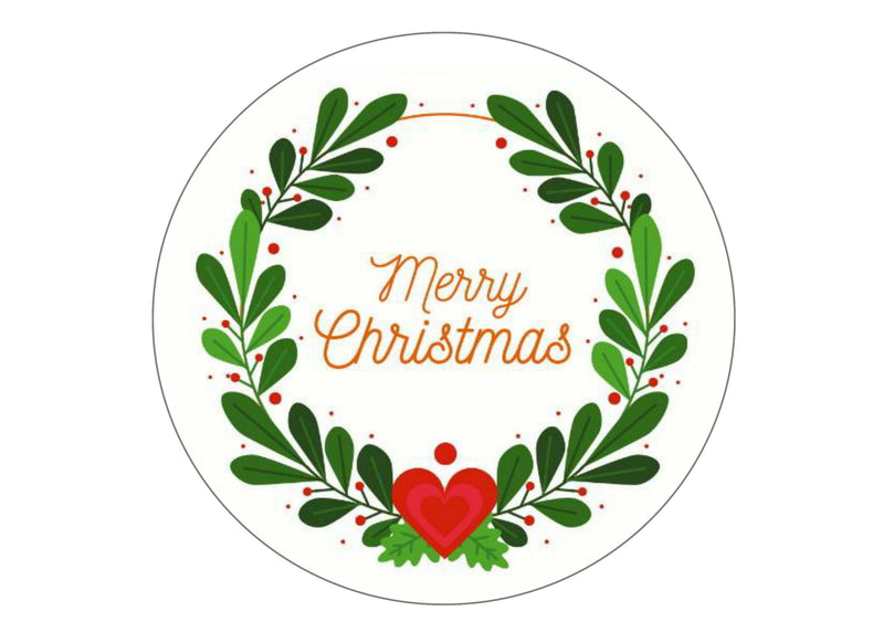 Large cake topper with Christmas Wreath and Merry Christmas message