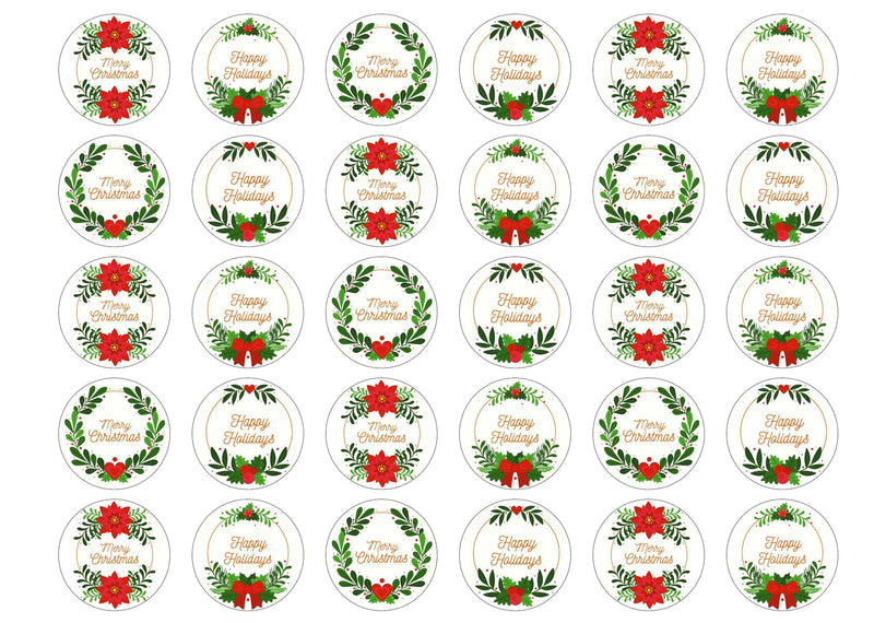 30 edible toppers with Christmas Wreath images
