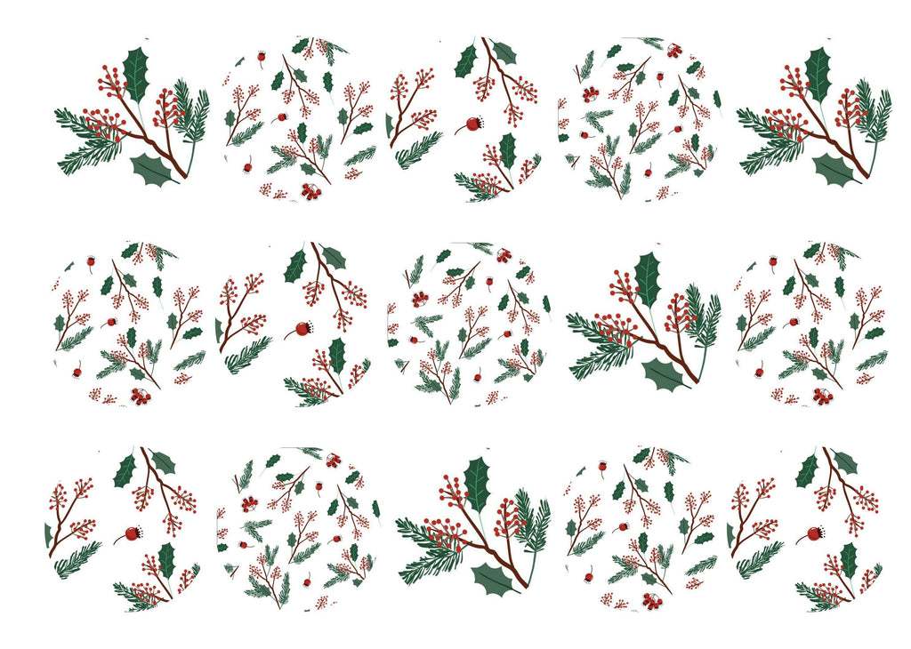 15 printed cupcake toppers with a Christmas holly pattern